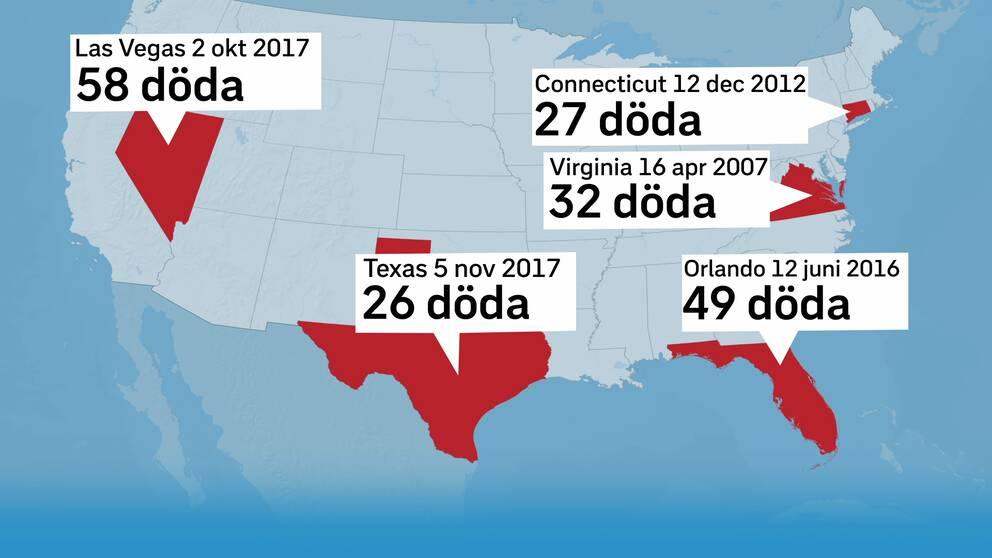 Karta med pilar på de platserna för de dödligaste masskjutningarna i USA.