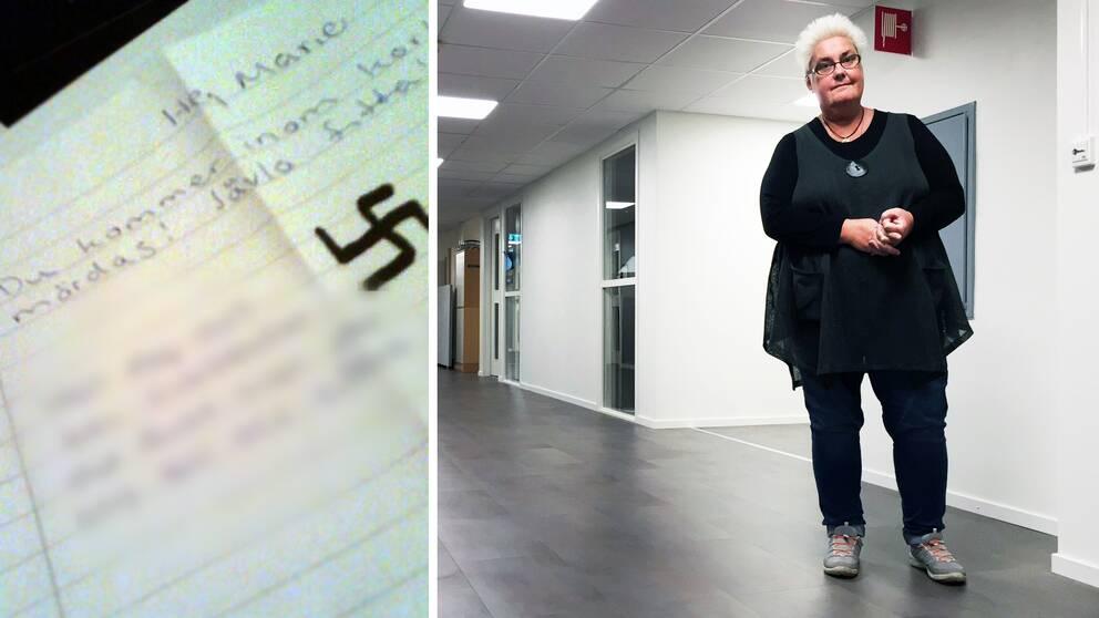 Bild av brev med texten: Hej Marie, Du kommer inom kort mördas! Jävla fitta. Teckning av hakkors.