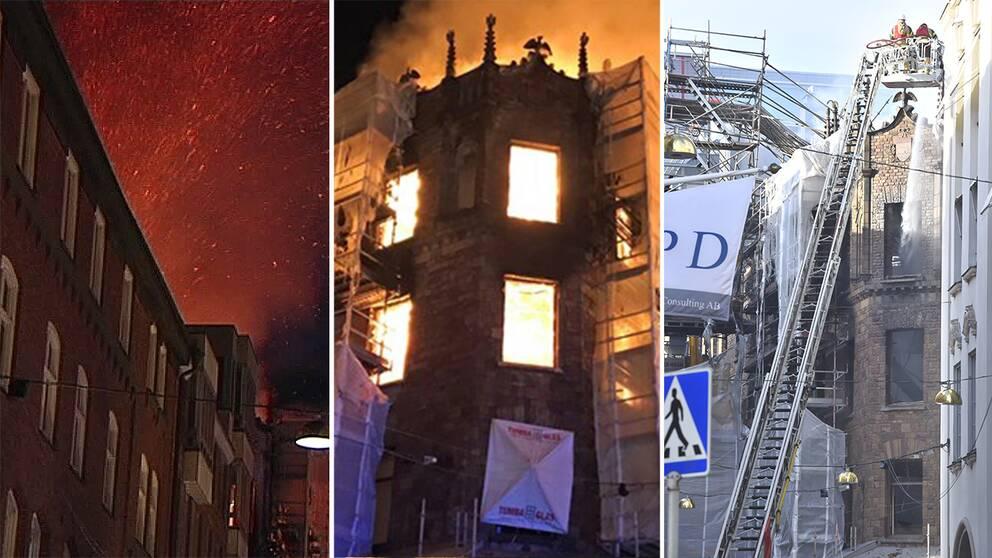 Till vänster gnistor flyger i luften. I mitten branden rasar i huset. Till höger släckningarbetet under tisdagen.