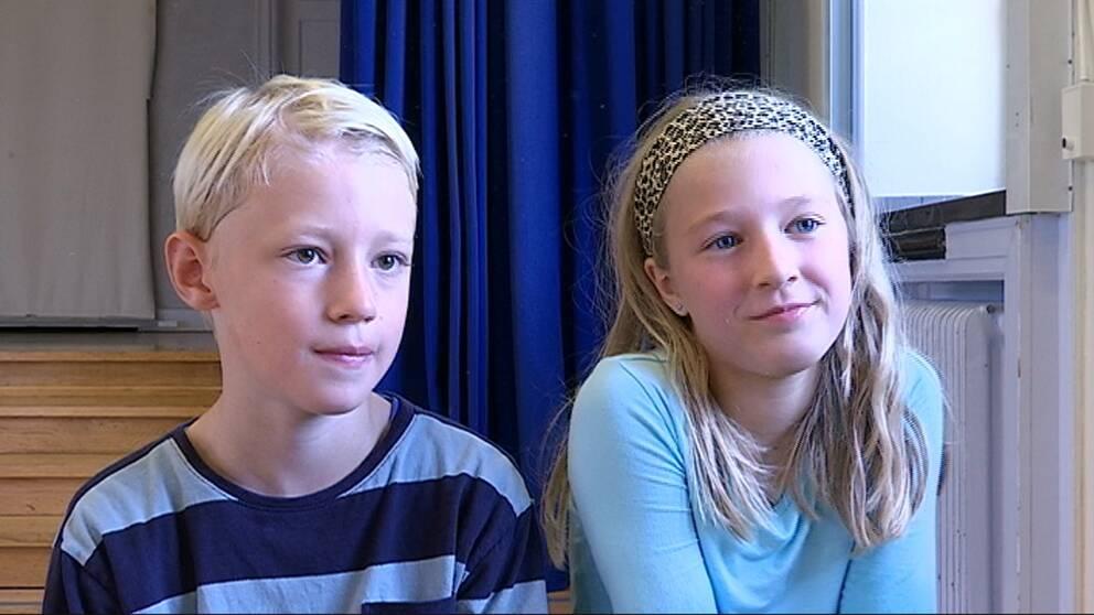 Olof och Frida i årskurs fyra på Ålstensskolan
