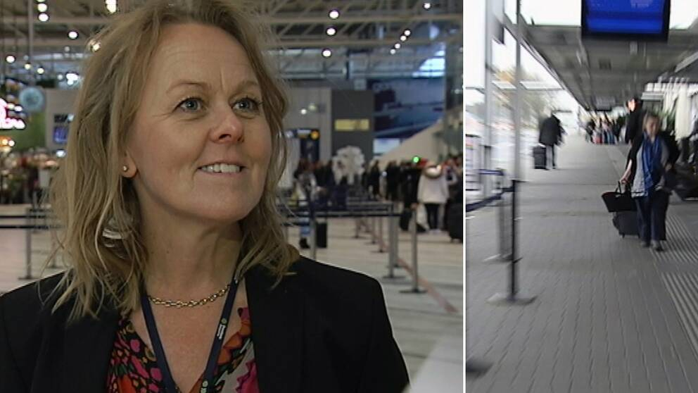 En bild där landvetter flygplats flygplansdirektör Charlotte Ljunggren är till vänster och i höger till bild en person som går med en rullväska