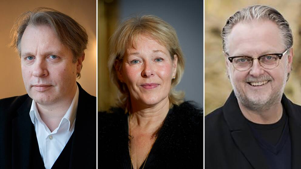 Dramatenchefen Eirik Stubö, Operans chef Birgitta Svendén och Magnus Aspegren, vd för Riksteatern.