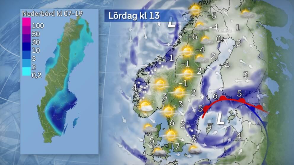 Lördag: Väldigt blöt snö. Inslag av blötsnö kan förekomma i främst delar av Småland under dagen. Osäkert är dock hur pass mycket som kan lägga sig, men på vägar och gator lär det bli väldigt blött. Senare under dagen mattas regnet och blötsnöandet av alltmer när det förskjuts vidare österut. I norr bjuder dagen på odramatiskt väder där molnen dominerar i öster och solen kan visa sig en del i norr. Lilla kartan till vänster visar trolig nederbördsmängd i millimeter under dagen.