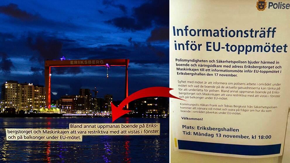 infolapp och vy över Eriksberg
