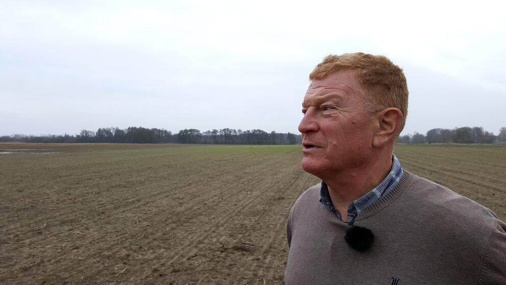 Skrämselkonsulenten Göran Frisk blickar ut över ett betat fält i Norra Åsum utanför Kristianstad.