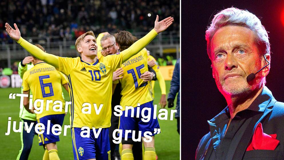 Författaren och fotbollsfantasten Björn Ranelid uppskattar Christian Olssons referat.