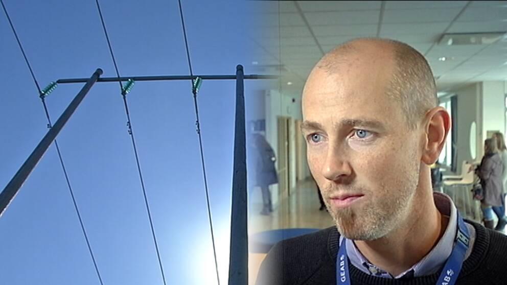 Björn Axelsson, elnätschef på Gotland och kraftledning montage.