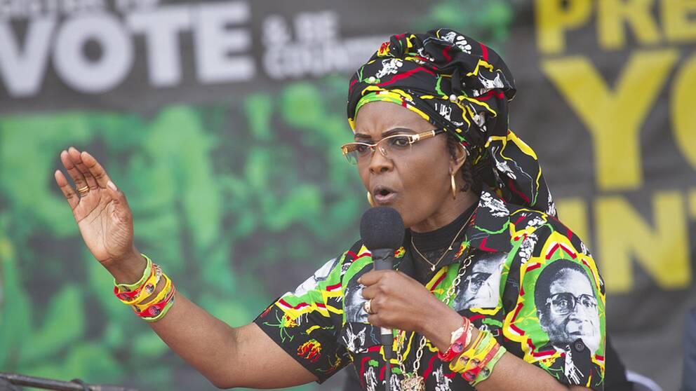 Zimbabwes första dam Grace Mugabe eftersträvar presidentposten efter sin make Robert Mugabe.