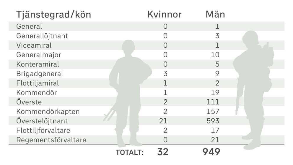 Grafik av antalet yrkesofficerare fördelat per kön.