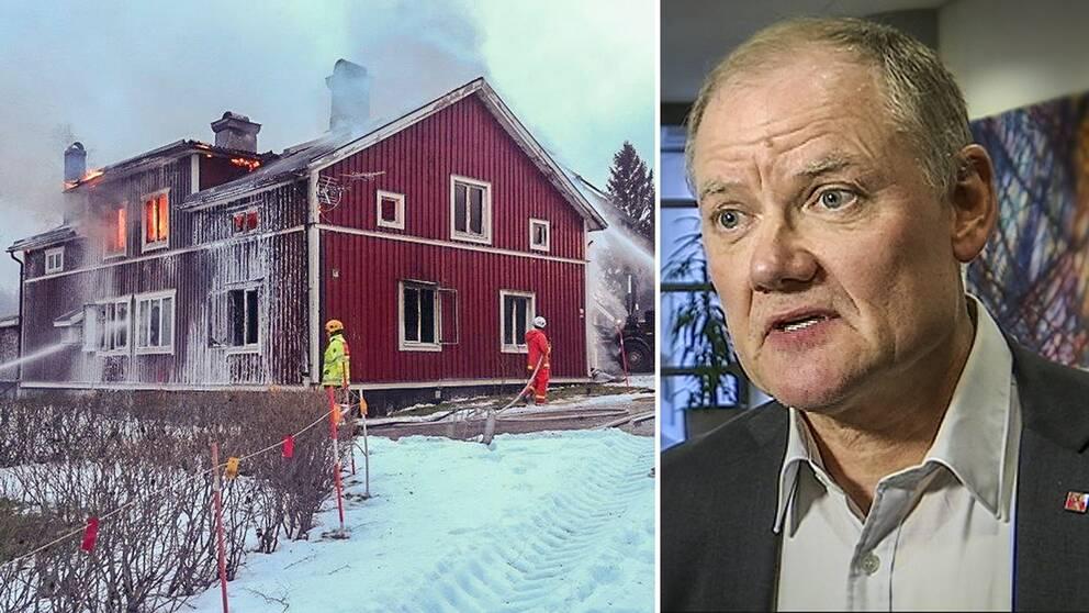Brinnande villa på bild med brandmän som släcker med skum. Samt bild på kommunchefen. En man i 60-årdåldern med kavaj och uppknäppt ljusgrå skjorta.