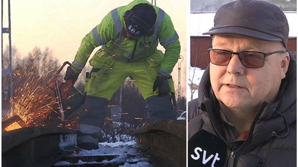 Person som kapar räls och Olle Larsson, vd Fiskarheden
