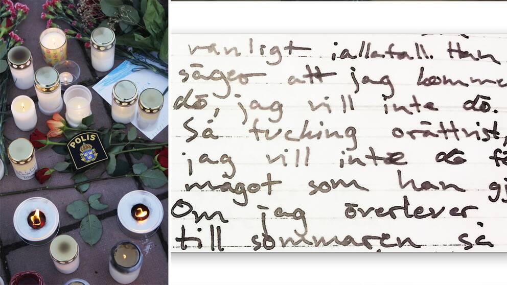 Blommor som sörjande lämnade efter Tove Mobergs död. Och hennes dagboksanteckningar.