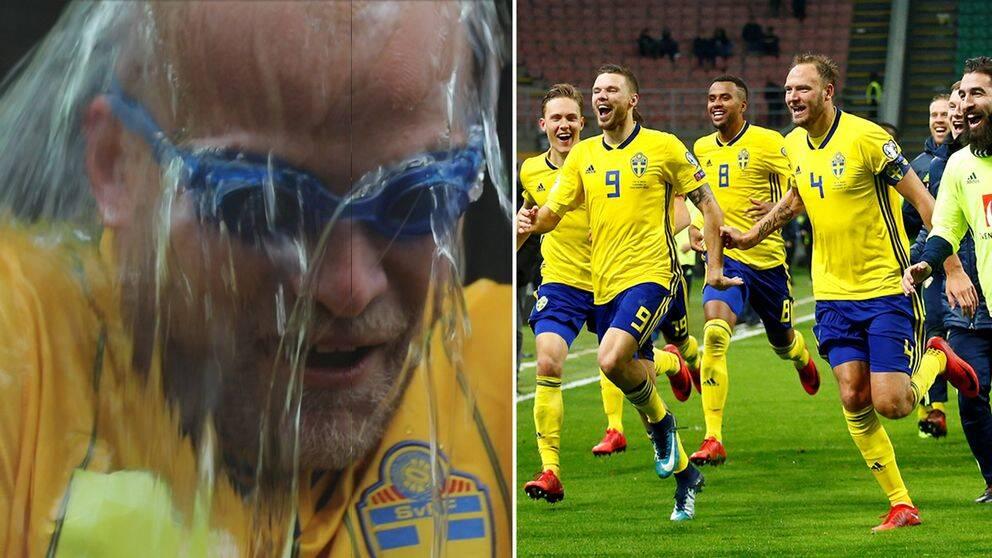 Lilla Aktuellts reporter Christopher Gimling Shaftoe och Sveriges landslag firar segern.