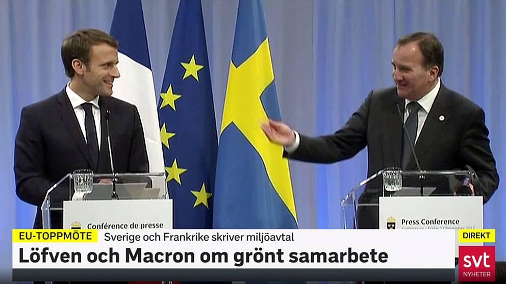 Se hur Emmanuel Macron överraskar Stefan Löfven med att prata svenska