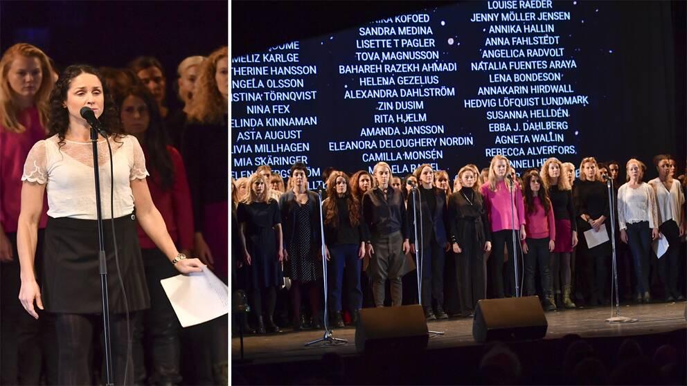 Sara Sommerfeld med skådespelarna på scenen under läsningen av de anonyma vittnesmål om sexuella övergrepp och trakasserier på Södra teaterns scen på söndagen.