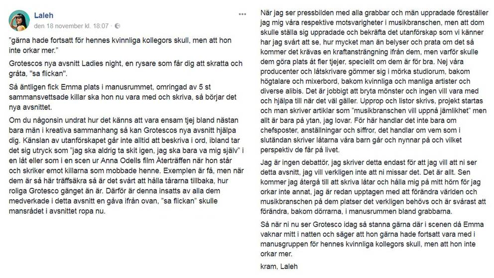 En skärmdump från Lalehs Facebook där hennes inlägg går att läsa som helhet.
