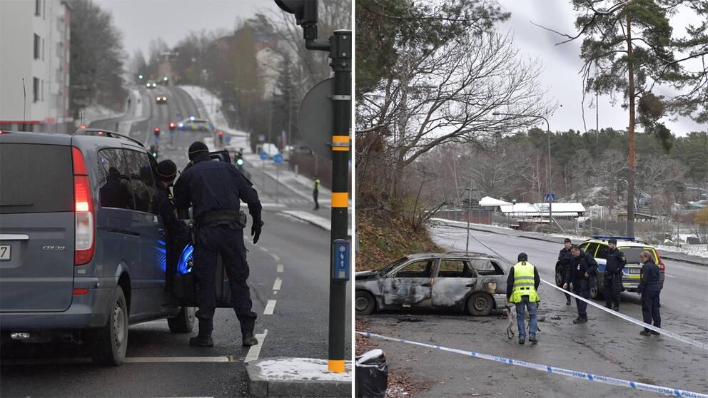 Polisens avspärrning efter skottlossningen i Mariehäll. Och polisens hundförare som undersöker en av bilarna som var inblandad i skottlossningen.