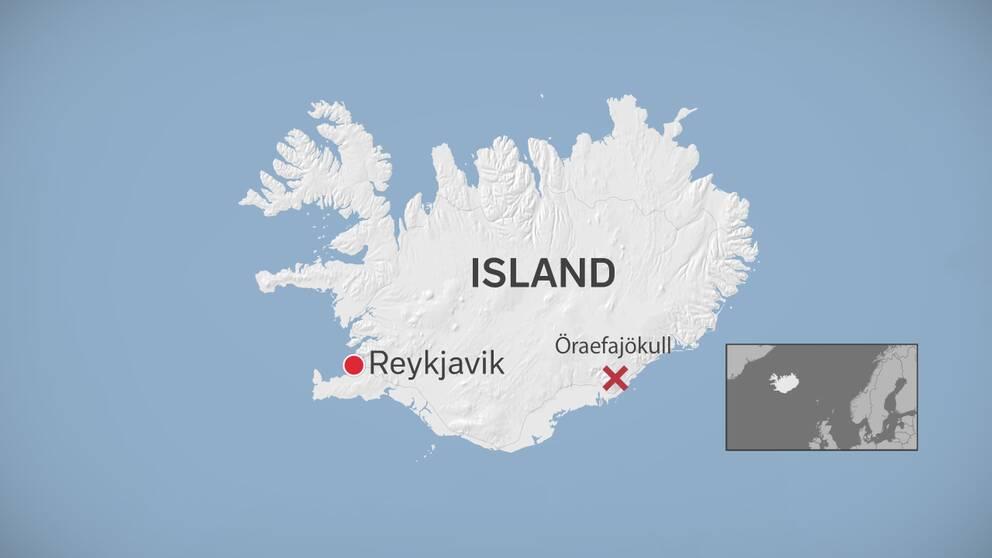 Karta över Island.