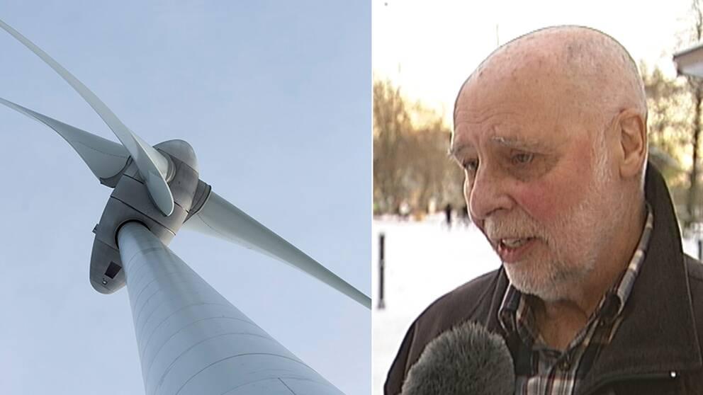 Ett vindkraftverk och en bild på Sven Larsson som är emot högre vindkraftverk.