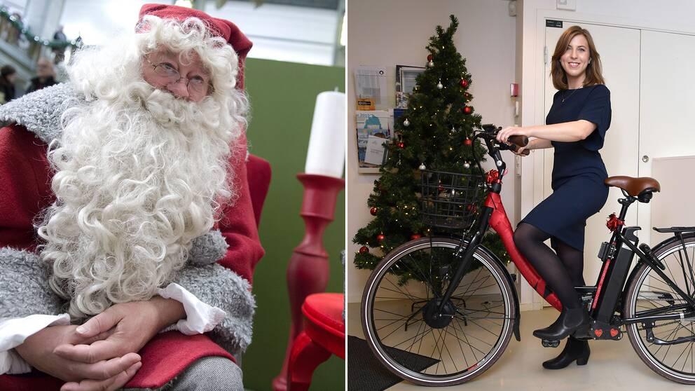Delad bild. Tomte till vänster som blickar in i bild till höger där kvinna står med en elcykel framför en gran.