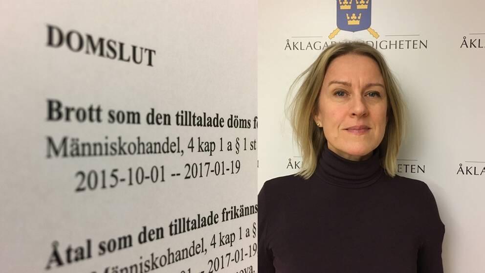Ett domslut och en bild på åklagaren Jenny Clemedtson