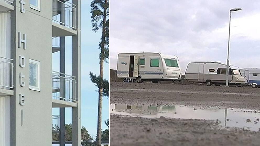 I Nyköping har nyanlända pga platsbrist placerats på hotell medan nyanlända i Staffanstorp har fått bo i husvagnar