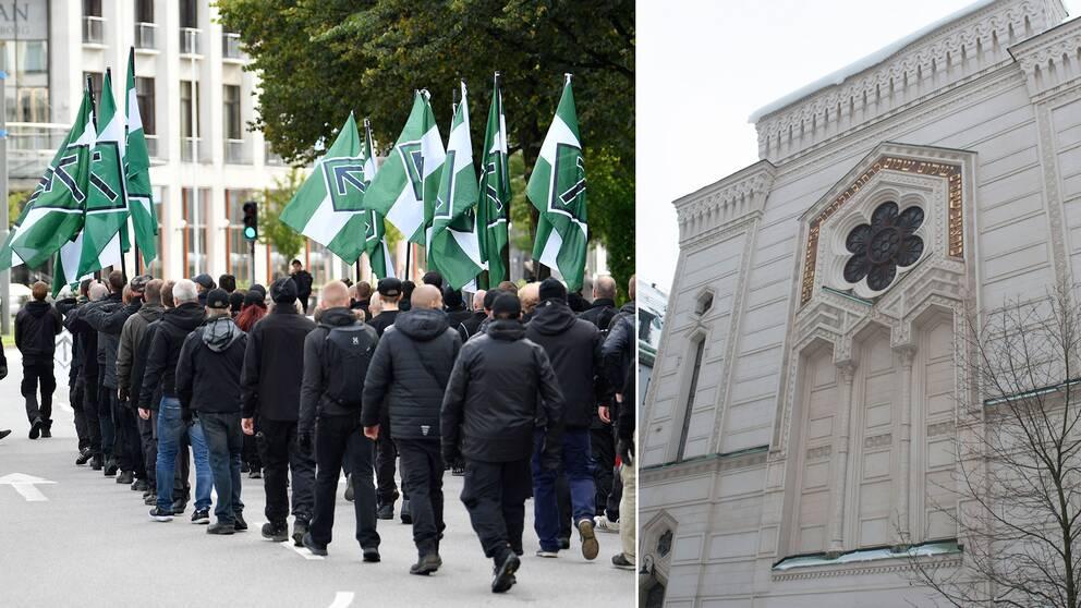 Nazister demonstrerar i Göteborg samt Stockholms synagoga