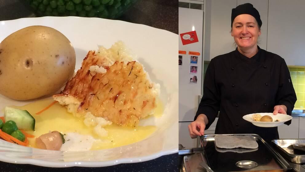 Potatis och fisk på en tallrik. Till höger Josefine Lind i förskolan Snöstjärnans kök.