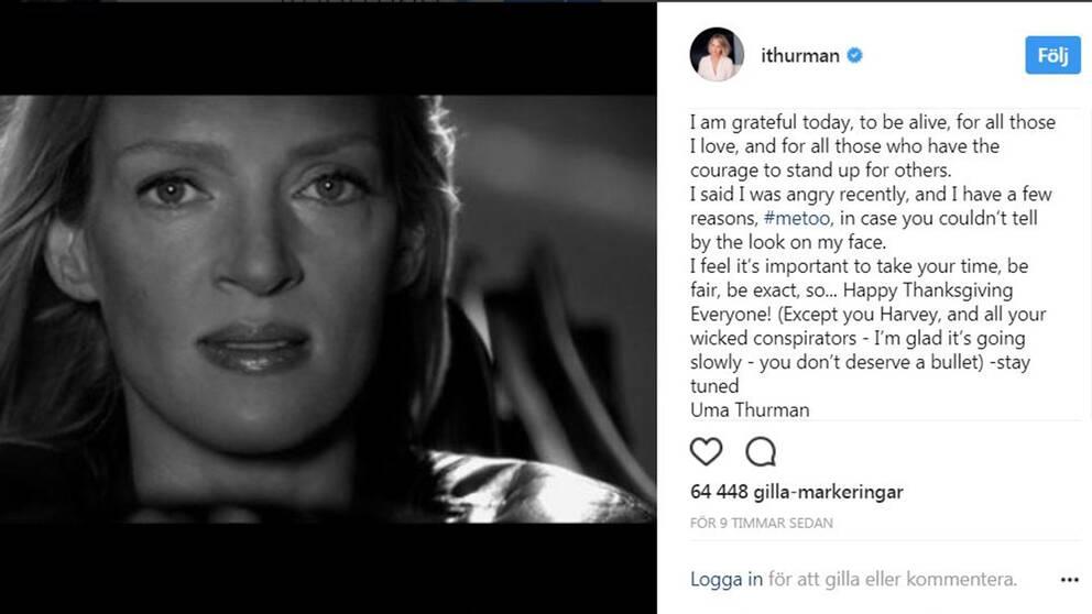 Uma Thurman gjorde under torsdagen ett uttalande på Instagram där hon önskade alla utom den våldtäktsanklagade filmproducenten Harvey Weinstein en glad Thanksgiving.