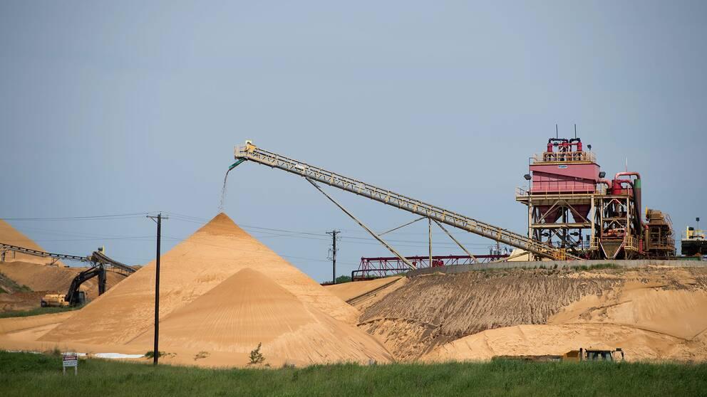 Sandtag i Wisconsin i USA, där sand- och grusutvinningen blivit till en mångmiljardindustri som bara de senaste fem åren vuxit med 24 procent.