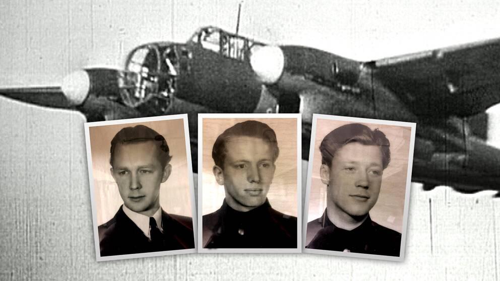 gamla foton: porträtt på tre unga män, över bild på flygplan