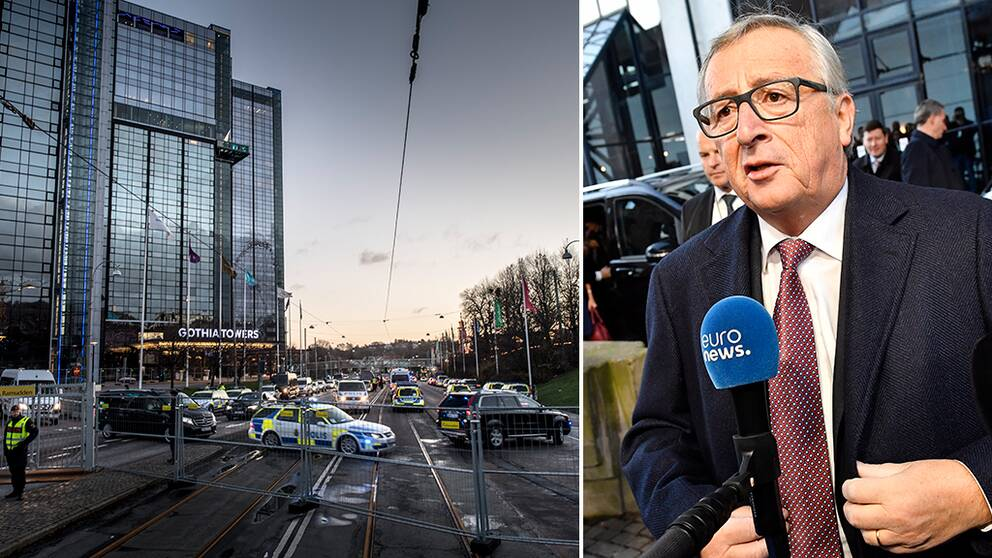 Europeiska kommissionens ordförande Jean-Claude Juncker utanför Eriksbergshallen och poliser utanför Gothia Towers i Göteborg den 17 november.