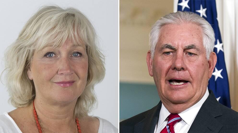Till vänster Erika Bjerström. Till höger Rex Tillerson.