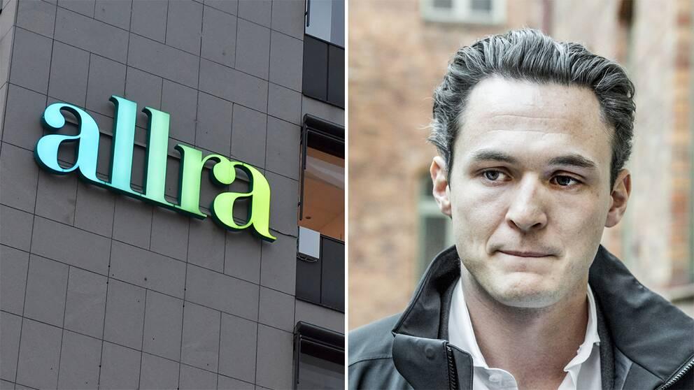 Till vänster Allras huvudkontor. Till höger Alexander Ernstberger.
