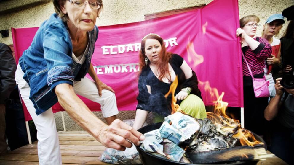 Många minns att Gudrun Schyman eldade upp pengar – men inte varför.