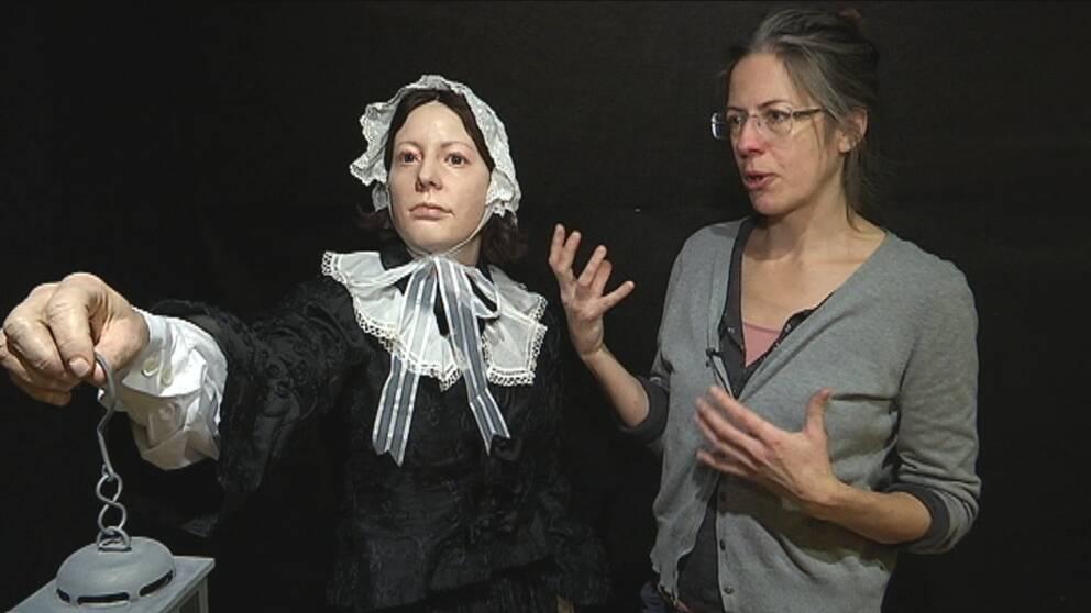 Cathrine Abrahamsson har gjort en gipsmodell som föreställer Florence Nightingale.