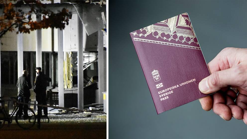 Entren till polishuset i Helsingborg och ett pass.