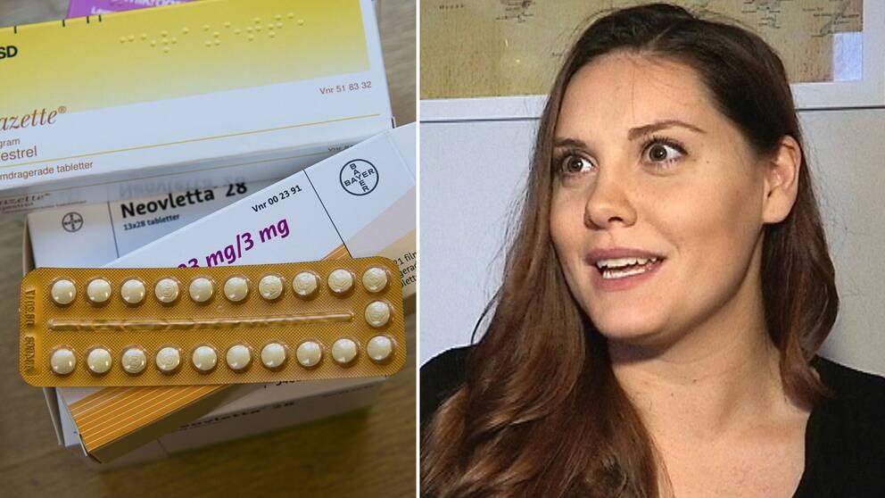 Förpackningar med p-piller till vänster, till höger porträtt av Sara Thörnberg.