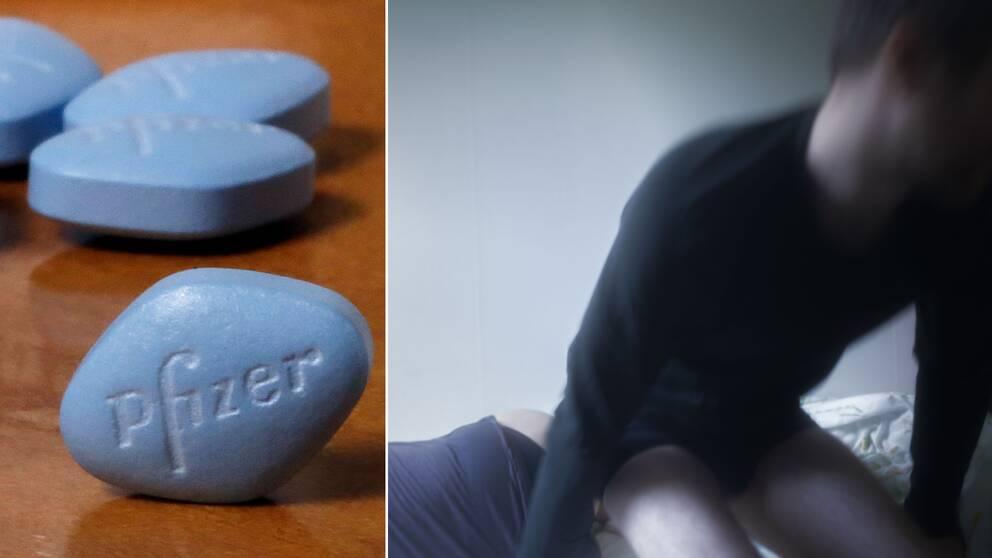 Viagratabletter och en man och kvinna i säng
