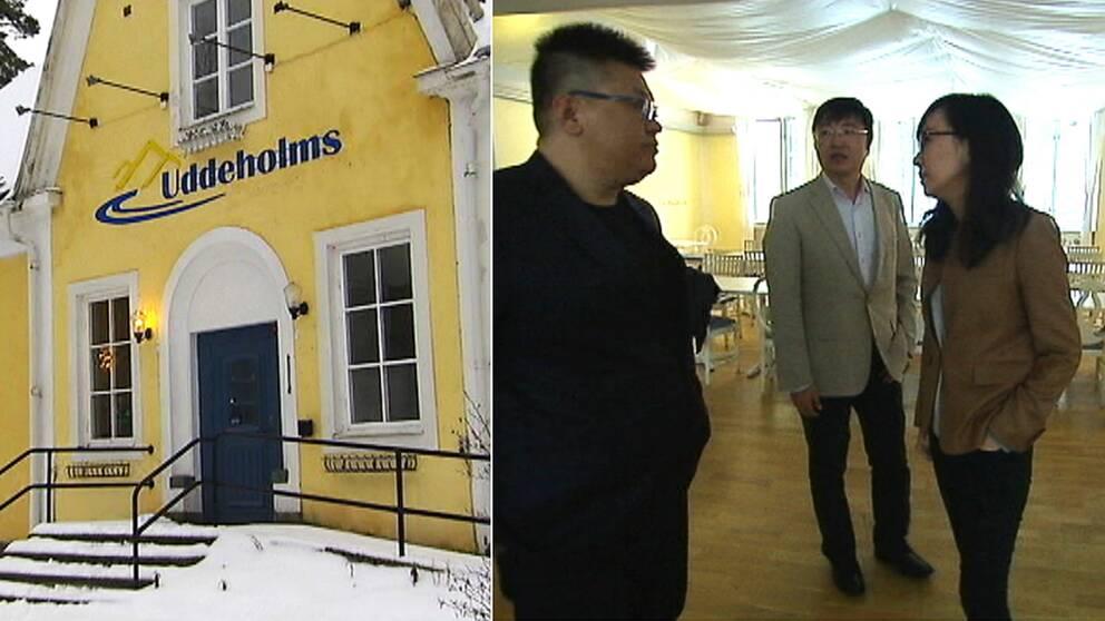 Brukshotellet i Uddeholm till vänster. Till höger syns tre personer som tittar på varandra