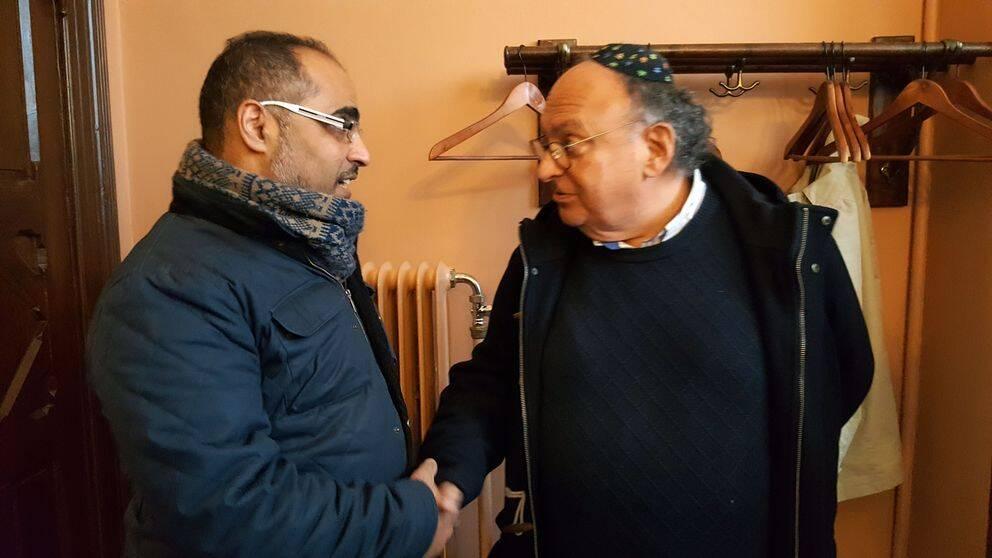 Ala Eddin Al Qut, verksamhetsledare för ett muslimskt studieförbund, och Freddy Gellberg, ordförande för judiska församlingen i Malmö.
