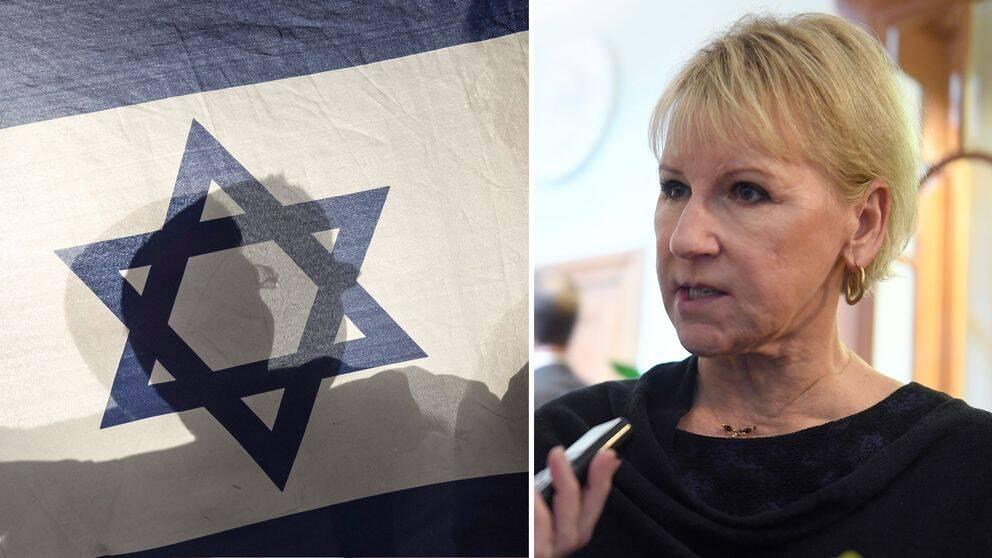 Halva bilden är på Israels flagga och halva bilden är på Margot Wallström