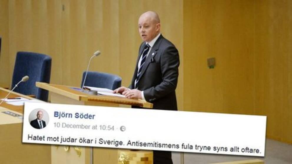 """""""Vi ser idag i Sverige en framväxande antisemitism som i många delar är importerad från Mellanöstern"""", enligt Söder."""