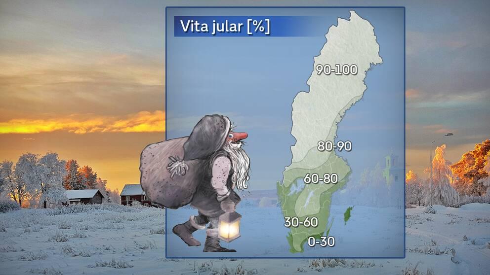 Sannolikhet för snötäcke på juldagens morgon under referensåren 1961–1990.