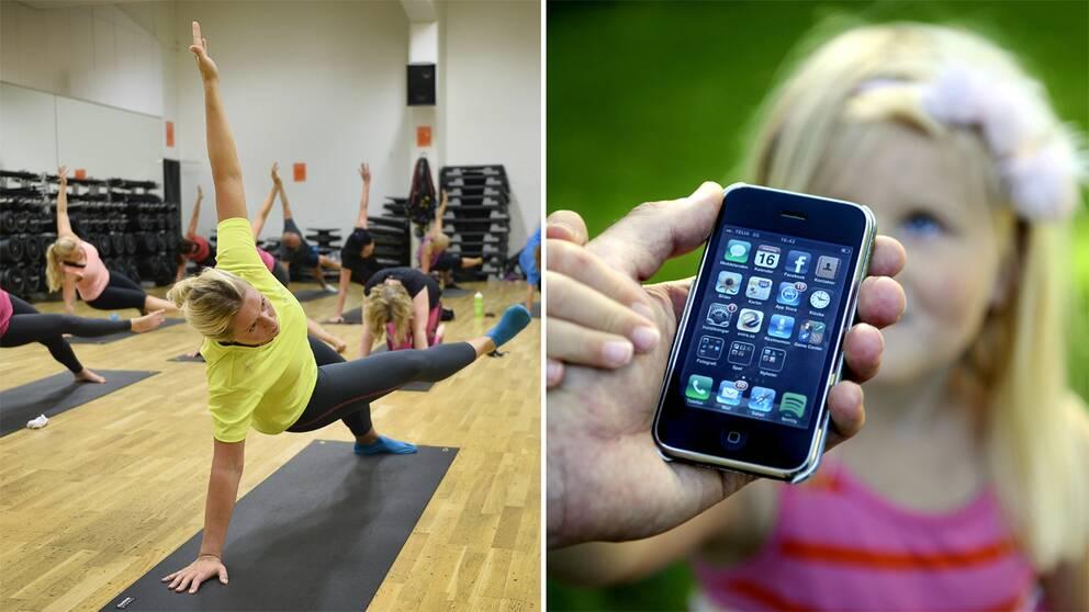 Kvinna som tränar och barn bakom en mobiltelefon.