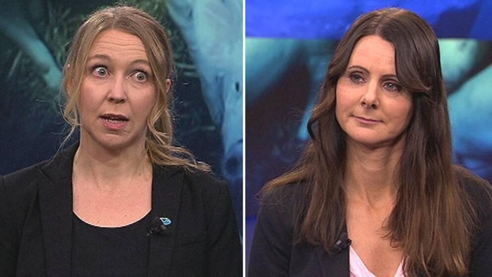 Camilla Björkbom, Djurens rätt och Sara Hoff från Svenska köttföretagen debatterade i Aktuellt 21