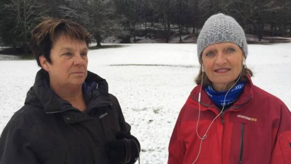 Christina Jedenberg (till vänster) och Ingela Bang Larsson (till höger) är båda upprörda över planerna för Stora Torp