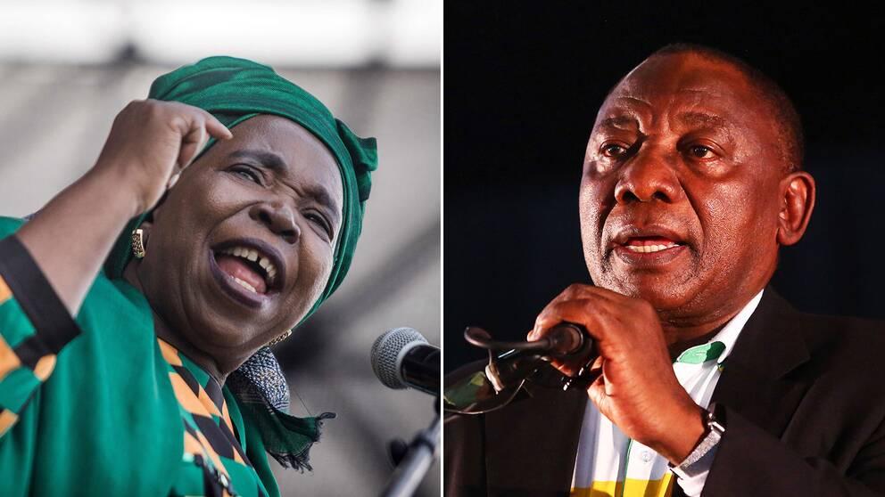 Afrikanska Unionens före detta ordförande Nkosazana Dlamini-Zuma och Sydafrikas vice presidenten Cyril Ramaphosa.
