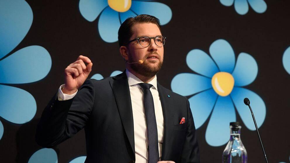 Jimmie Åkesson framför en bakgrund med Sverigedemokraternas logga på, som föreställer en blå blomma.