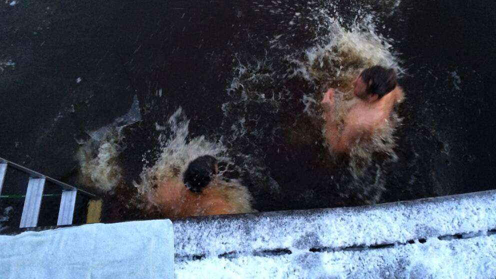 Ki Sandholm och Björn Wallgren badar i Svartån.